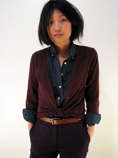 Knotted cardigan.