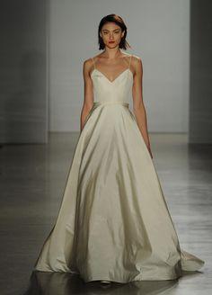 Amsale silk ball gown wedding dress with v-neckline and spaghetti straps Fall 2016   https://www.theknot.com/content/amsale-wedding-dresses-bridal-fashion-week-fall-2016