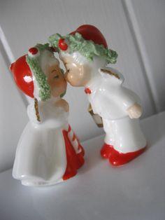 Under the Mistletoe: Christmas 1950s Napco Miniature Kissing Boy and Girl