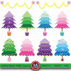 SALE Christmas Tree Clipart CHRISTMAS TREE Clip art by SAClipArt