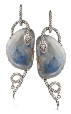 Bochic Blue Sapphire Serpent Earrings