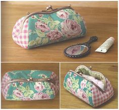 So pretty that I may be convinced to make a frame purse. Quilted Gifts, Quilted Bag, Coin Purse Wallet, Mini Purse, Frame Purse, Craft Bags, Patchwork Bags, Fabric Bags, Zipper Bags