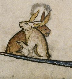 Rabbit/Hare marginalia,Historia de proeliis, translated in French as La vraie… Medieval Drawings, Medieval Paintings, Medieval Art, Medieval Manuscript, Illuminated Manuscript, Rabbit Illustration, Illustration Art, Evil Bunny, Statues