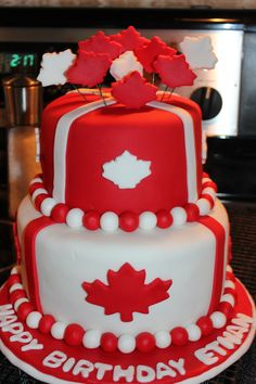Two-tiered round Canada Day cake. Canada Day 150, Canada Day Party, Canada Canada, Cupcakes, Cupcake Cakes, Canadian Party, Canada Day Crafts, Wedding Cake Cookies, Birthday Cake