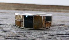 Navajo Tiger Eye Onyx Multi Inlay Band Ring Size 10, Inlay Ring, Tiger Eye Onyx Ring, Vintage gift jewelry, Band Ring,Inlay Band,Made in USA