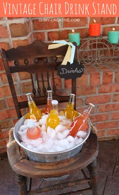 Repurpose an old vintage chair into a pretty drink stand! Perfect for entertaining, parties or bridal showers!