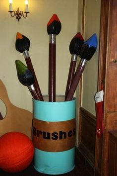 Giant Oversize Paint Brushes and Pot Prop