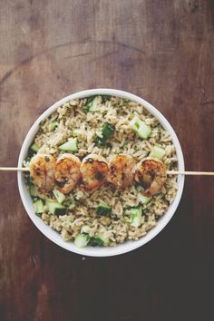 Spicy Grilled Shrimp with Cucumber- Cilantro Rice