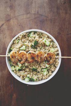 Spicy Grilled Shrimp with Cucumber- Cilantro Rice