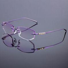 2536be93cc Titanium Alloy Glasses Frame Original Brand Women Rimless Frames Diamond  Trimming Cut Rimless Glasses With Gradient