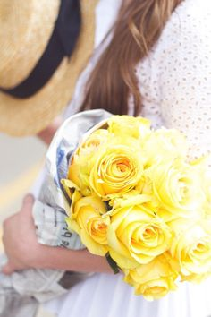 Stepping out of red roses with this yellow bouquet.