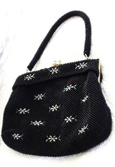 VINTAGE 1950s Black Handbag Embroidery and Sim Beads Brand Elbief of | Vintageartjewelry - Bags & Purses on ArtFire