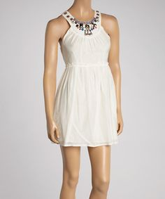 Look what I found on #zulily! Off-White Beaded Silk-Blend Sleeveless Dress by Aryeh #zulilyfinds