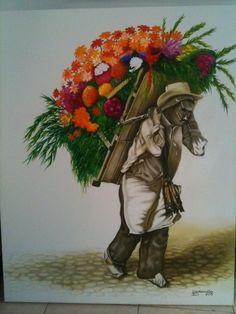Medellín y su linda gente, Silletero, Colombiano Pinturas al óleo de LUIS EDUARDO DARAVINA VACA pintor Colombiano Mexican Art, Home Deco, Folk Art, Whimsical, Cross Stitch, Culture, Fantasy, Watercolor, Painting