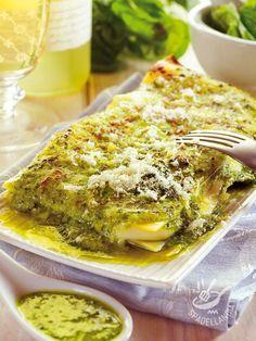Lasagne con pesto, pinoli e stracchino