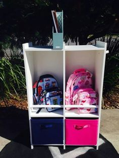Homework station on top?Perfect for storing backpacks, lunch bags, school projects and more, all in one easy-to-access place! School Bag Organization, School Bag Storage, Kids Storage, Storage Ideas, Organisation Ideas, Backpack Station, Backpack Storage, Purse Storage, Shoe Storage
