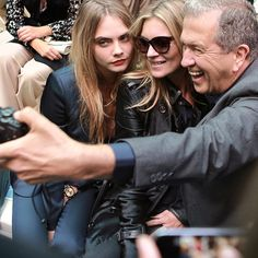 My Burberry campaign stars Kate Moss and Cara Delevingne sitting on the front row with photographer Mario Testino at the Burberry S/S15 Show