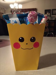 "#pokemon party favor boxes -party city boxes $1 for 5... black sharpie marker, pink sharpie marker and white out for the ""dots"" on the eyes"