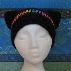 Cat Ears Black and Rainbow Kitty Hat Handmade