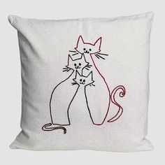 Cat family line embroidery embroidered pillow cover nursery decor brown pink black pastels minimalist cats happy bright