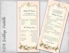 Printable wedding program template by diyweddingsprintable on Etsy