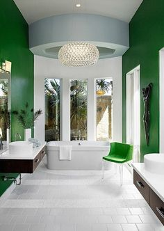 Green Brightens Up This Bathroom