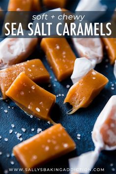 Sea Salt Vanilla Caramels - unbelievably soft and chewy; the ultimate sweet and salty candy treat. The recipe makes a big batch to share! Köstliche Desserts, Delicious Desserts, Dessert Recipes, Caramel Recipes, Candy Recipes, Salted Caramel Candy Recipe, Soft Chewy Caramel Recipe, Caramel Brownies, Caramel Apples