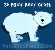 Polar Bear 3D Craft www.daniellesplace.com