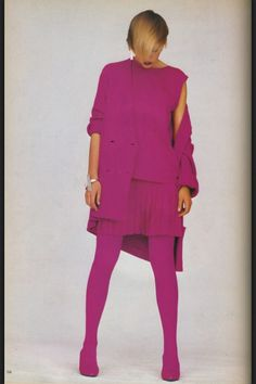 "SS Spring 1985; wool gabardine by Agnona; jewelry by M+J Savitt for Stephen Sprouse; ""fused feet"" shoe tights by Jungle Red for Stephen Sprouse"