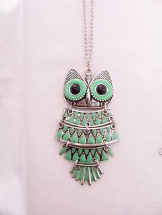 Neon green owl pendant necklace - owl pendant - neon green necklace - owl…
