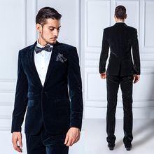Modest 2015 Slim Fit noivo terno de veludo lapela melhor homem vestido para casamento / Prom / ternos formais(China (Mainland))