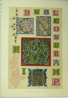 [C1882 Colour Print Calligraphy Design Fifteenth Century]