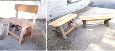 Benches built from scrap wood and Great for around the fire pit. Built In Bench, Custom Furniture, Outdoor Furniture, Outdoor Decor, Benches, Scrap, Construction, Fire, Wood
