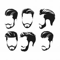 Hipster hair, mustaches and beards Premium Vector Hipster Hairstyles, Boy Hairstyles, Best Beard Styles, Hair And Beard Styles, Beard Logo, Shield Icon, Square Logo, Hair Sketch, Badge Design