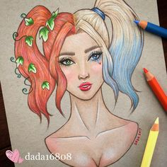 Poison Ivy and Harley Quinn Cute Disney Drawings, Cartoon Drawings, Cute Drawings, Drawing Sketches, Doodle Sketch, Pinturas Disney, Beautiful Sketches, Dibujos Cute, Amazing Drawings