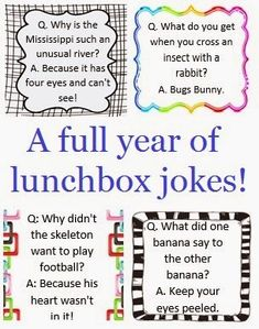 A full year of Lunchbox Jokes Printable