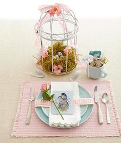 Trade traditional bunnies for stylish birds on your brunch table.