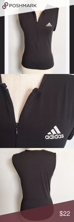 """Adidas 1/2 Zip Stretch Top, Small Very nice top and that is super soft and stretchy! Please note that it is marked large, however, fits like a small. Made of cotton, Lycra, and spandex. 32"""" armpit to armpit unstretched. Length is 21 inches in front. Very good condition other than one light pull in the fabric. From a smoke and pet free home. Bundle it with over 200 items for an additional 20% off or more! Adidas Tops Muscle Tees"""
