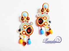Boho brown Earrings Soutache Earrings soutache by Marecalmojewels