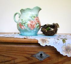 Vintage Pitcher with Pink Roses on an Aqua Blue and Mint Green Background Cottage Chic SHabby Chic. $20.00, via Etsy.