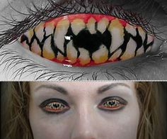 Halloween Contact Lenses This would be perfect for the Corinthian from The Sandman Series... Too bad I can't wear that kind of contact.....