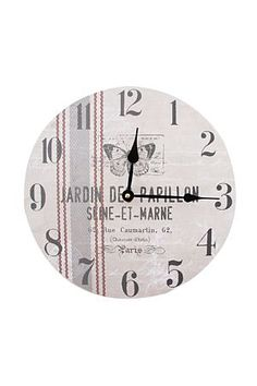 "This french country design paper clock looks great in classic vintage themed kitchen. Diameter class=""pdpDescContent""><BR /><b class=""pdpDesc"">Dimensions:</b><BR cm</div>"
