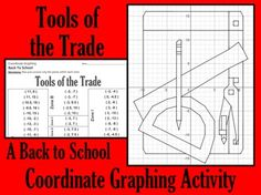 Make going Back to School fun with this coordinate graphing activity.  Students are given a list of coordinate points to connect.  They should connect the points only within the designated zones. When they are done, they will have a picture of a ruler, protractor, compass, pencil and sheet of paper.  Don't forget to download a copy of my custom-made FREE GRAPH PAPER. $2.30