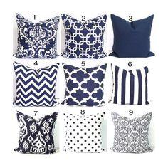 Navy Blue Pillow Covers for Pillows, Blue Decorative Pillow Covers, Navy Blue Pillow Covers, Blue Pillow Covers, Blue Cushion Covers - Decoration - Cool Decorative Pillows Navy Blue Cushions, Navy Pillows, Nautical Pillows, Decor Pillows, Accent Pillows, Blue Cushion Covers, Blue And White Fabric, Nate Berkus, Blue Throws