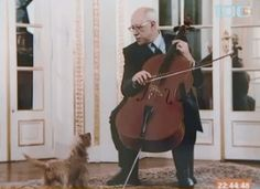 the great russian cellist with his little dog