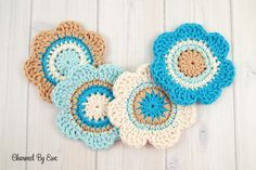 Free Cotton Flower Coasters | Charmed By Ewe and other free crochet patterns