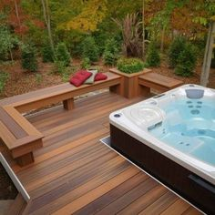 hot tub deck This curved deck is tucked into the woods for lots of privacy. It feature a main deck area and a lower deck dedicated for the hot tub. Skirting is around the main deck and her Curved Pergola, Deck With Pergola, Pergola Kits, Spas, Jacuzzi Outdoor, Outdoor Spa, Whirlpool Deck, Hot Tub Backyard, Arquitetura