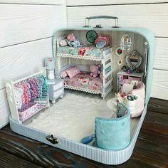 10 Miniature Scene Dollhouse By Olgamokriskaya Miniature Rooms, Miniature Crafts, Miniature Houses, Miniature Furniture, Dollhouse Furniture, Miniature Tutorials, Doll House Crafts, Doll Crafts, Doll Houses