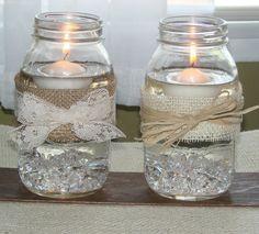 rustic wedding bouquets with burlap   Wedding Mason Ball Jars Flowers Ribbon Jute Lace Burlap Candle Bride ...