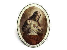 French Enamel Antique Jesus Wall Plaque. Sacred Heart of Jesus